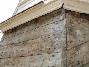 Fig. 9.  Exposed cupola sheathing on the SW elevation. - photo courtesy Don Jordan and Peter Post
