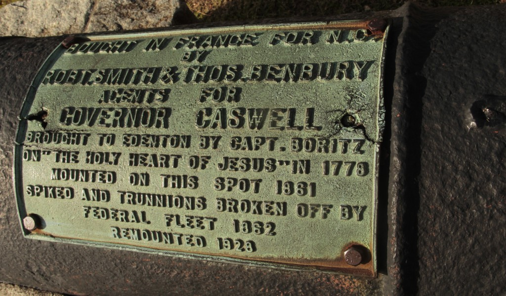 Plaque on one cannon offers a brief history.