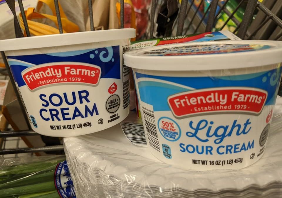 Regular Sour Cream  vs Light Sour Cream