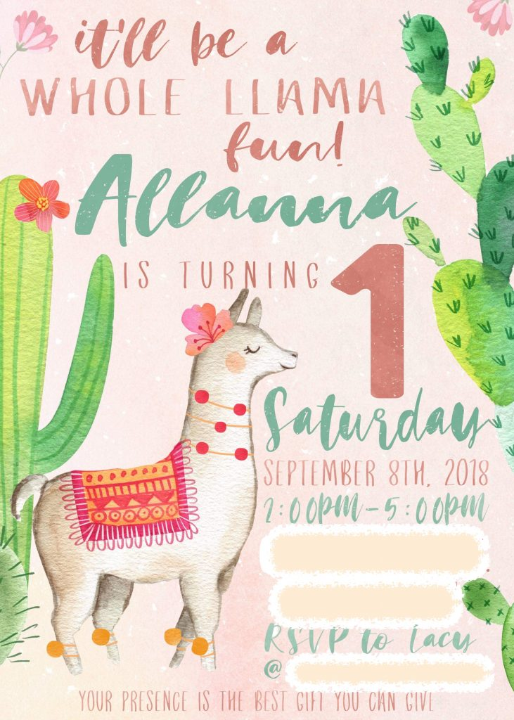 llama birthday party invitation front