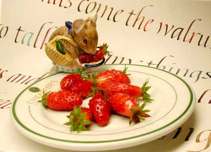 Italic Lettering with Strawberries and Mouse by Janet Takahashi