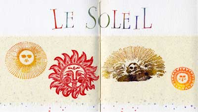 Le Soleil watercolor, rubber stamped images by Janet Takahashi