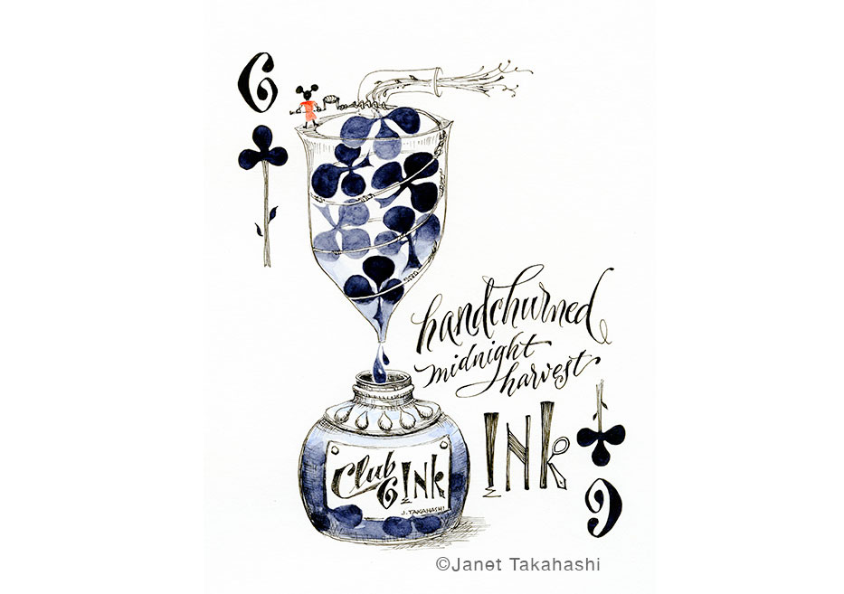 Playing Card 6 of Clubs illustration by Janet Takahashi