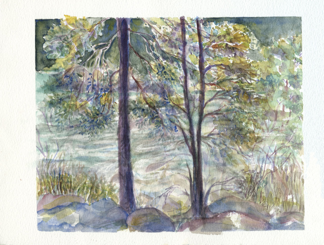 Nature River watercolor sketchbook page by Janet Takahashi