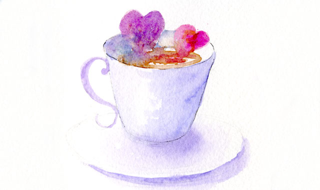Hearts In Teacup watercolor illustration by Janet Takahashi