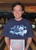 Eddie Kikuchi WInner of bowling ball donated to the Covina Nisei Bowling League (10/7/11)