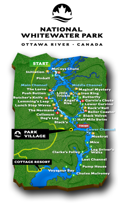 National Whitewater Park Map Ottawa River Canada Rafting Resort Cabins Wilderness Tours