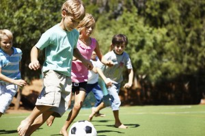 kids with soccer ball