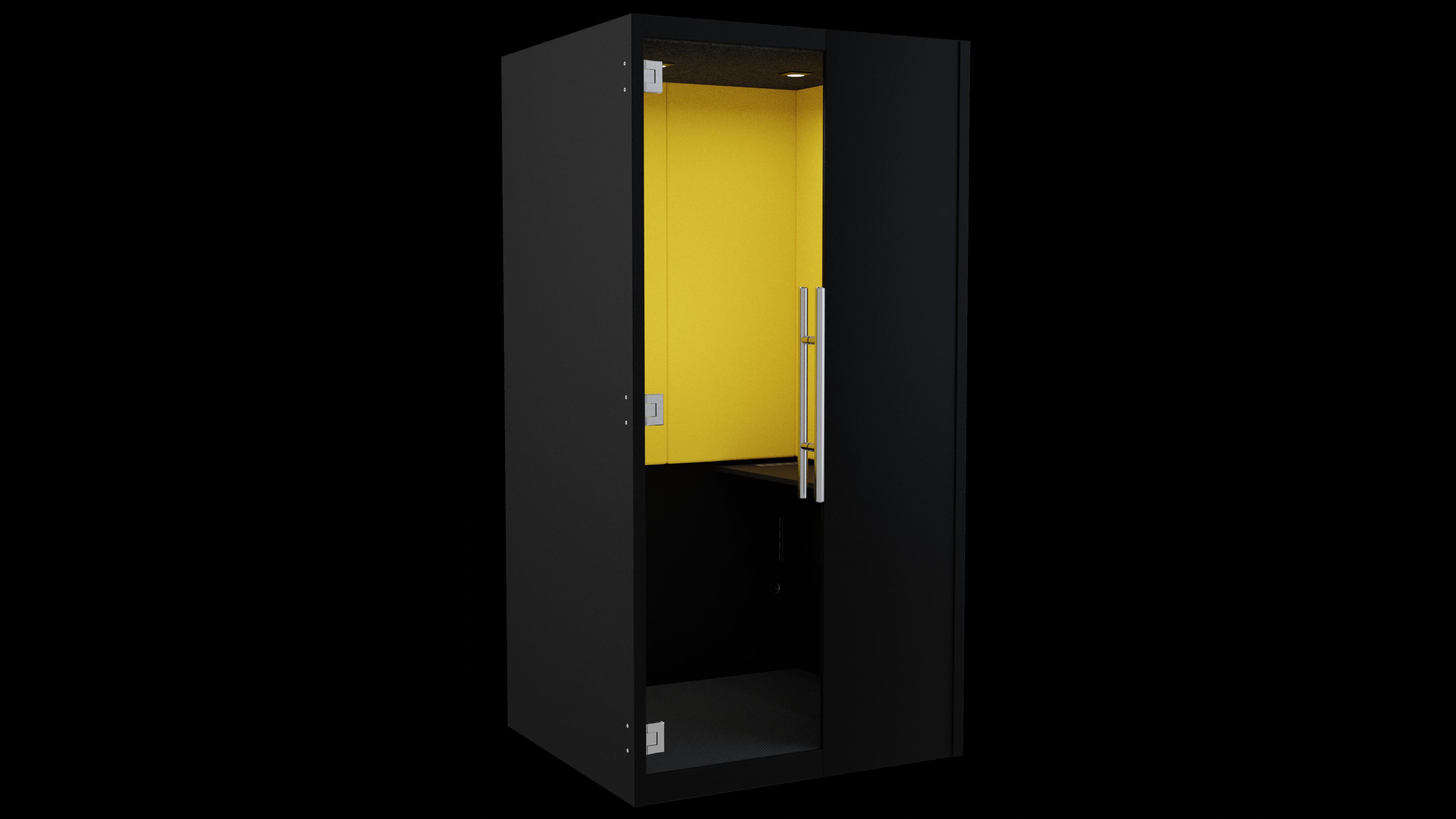 Black Laminate phoneBOX with Yellow Felt