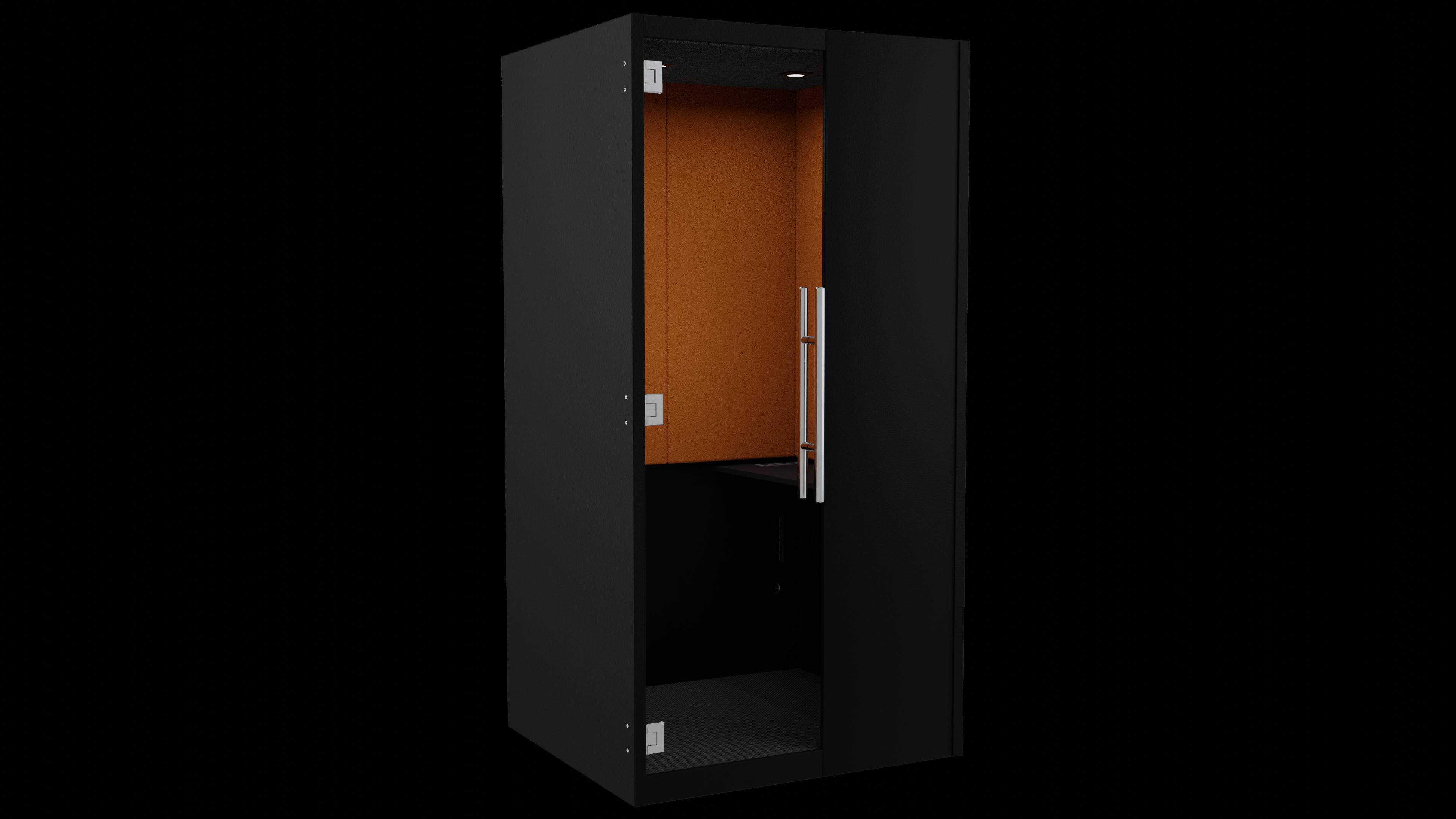 Black Laminate phoneBOX with Orange Felt