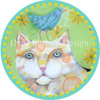 Danasimson.com Cat with bird friend car art sticker