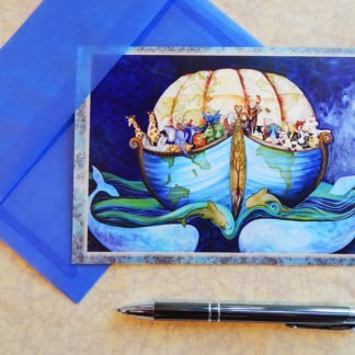"Danasimson.com Gift card ""Earth Ark"" Noah's ark in shape of the earth vellum envelope"