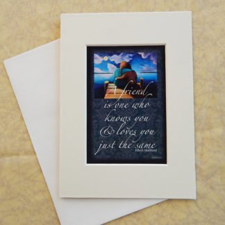 "Danasimson.com Matted art card with envelope, ""Friends"" quote, two people on dock image."