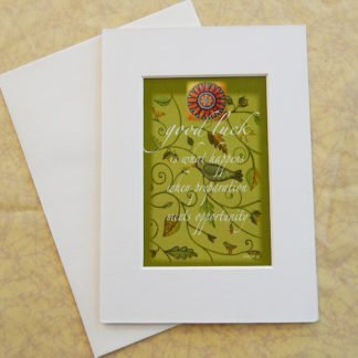 """Danasimson.com Matted art card with envelope, """"Good Luck"""" quote, bird and vine image."""