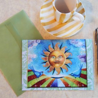 "Danasimson.com Gift card ""Happy Trails"" sunshine face & blue birds with vellum envelope"