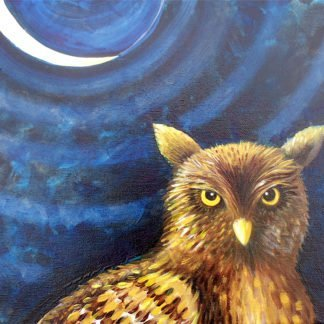 """Danasimson.com Original oil Painting """"Night Owl"""" Portrait showing owl against night with a sliver moon, in a black folk art gold scrolled frame."""