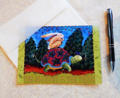 "Danasimson.com Gift card ""Journey is the thing"" tortoise and hare with vellum envelope"