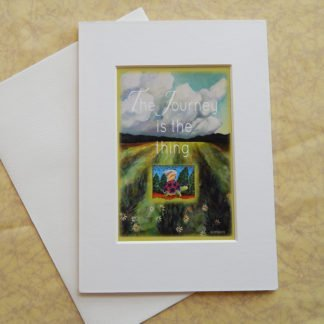 """Danasimson.com Matted art card with envelope, """"The Journey is the thing"""" quote, tortoise and hare image."""