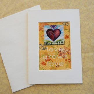 Danasimsoncom Matted art card with envelope, Love blooms image, text love grows love.