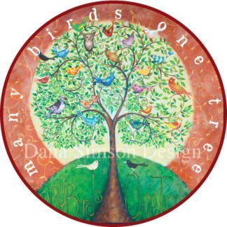 Danasimson.com tree of life image/ Many birds one tree car art sticker