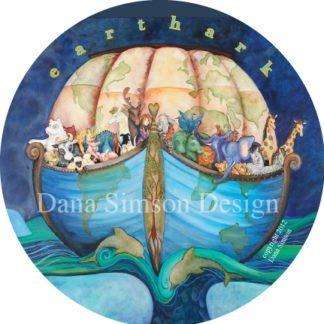 "Danasimson.com ""Earth Ark"" with noah ark in the shape of earth car art sticker"
