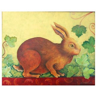 """Danasimson.com Original oil Painting """"Guilded Rabbit"""" shows a brown rabbit in grape vines. Metallic gold foil background. Decorative painting in black folk art frame with gold scrolling. Detail of rabbit."""