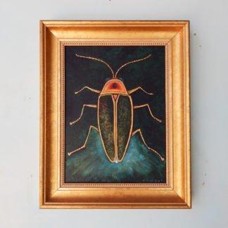 Danasimson.com original painting lightening bug in gold frame