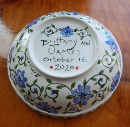 outside of dragonfly serving bowl with custom message