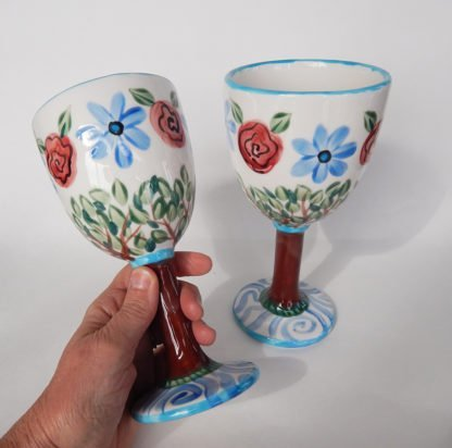 Danasimson.com View side Personalized Wedding Goblets; Long Love is a well tended Garden
