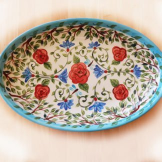 Danasimson.com Custom wedding platter long love is a well tended garden is handprinted on a ceramic oval platter. I am happy to paint a custom message on the bottom. Bachelor buttons and red roses with green vines decorate it.
