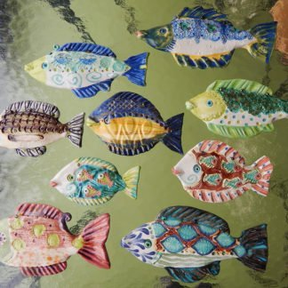 Danasimson.com Wall sculpture, hanging fish one of a kind, all colors with raised patterns in handmade ceramic.