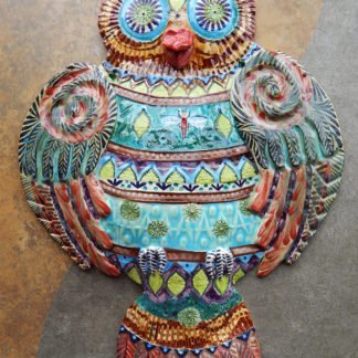 Danasimson.com Large ceramic Owl wall sculpture, with elaborate patterning and relief.
