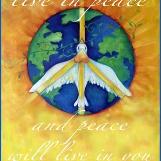 """Danasimson.com Live in Peace Art Print shows a peace dove flying over earth. It says """"live in peace & peace will live in you."""""""