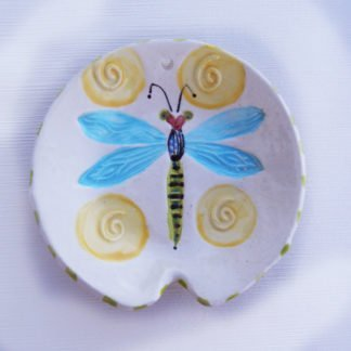 Danasimson.com Handmade ceramic colorful dragonfly spoon rest