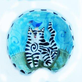 Danasimson.com Striped cat spoon rest handmade raised image ceramic. Food safe.