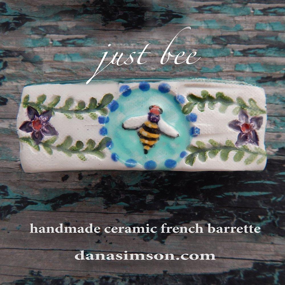 Honey bee french barrette handmade ceramic