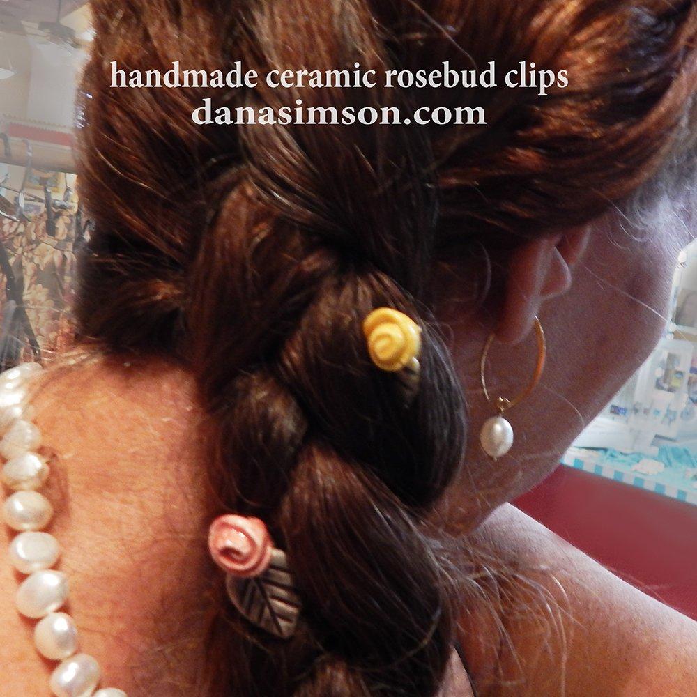 rosebud clips inserted into braid