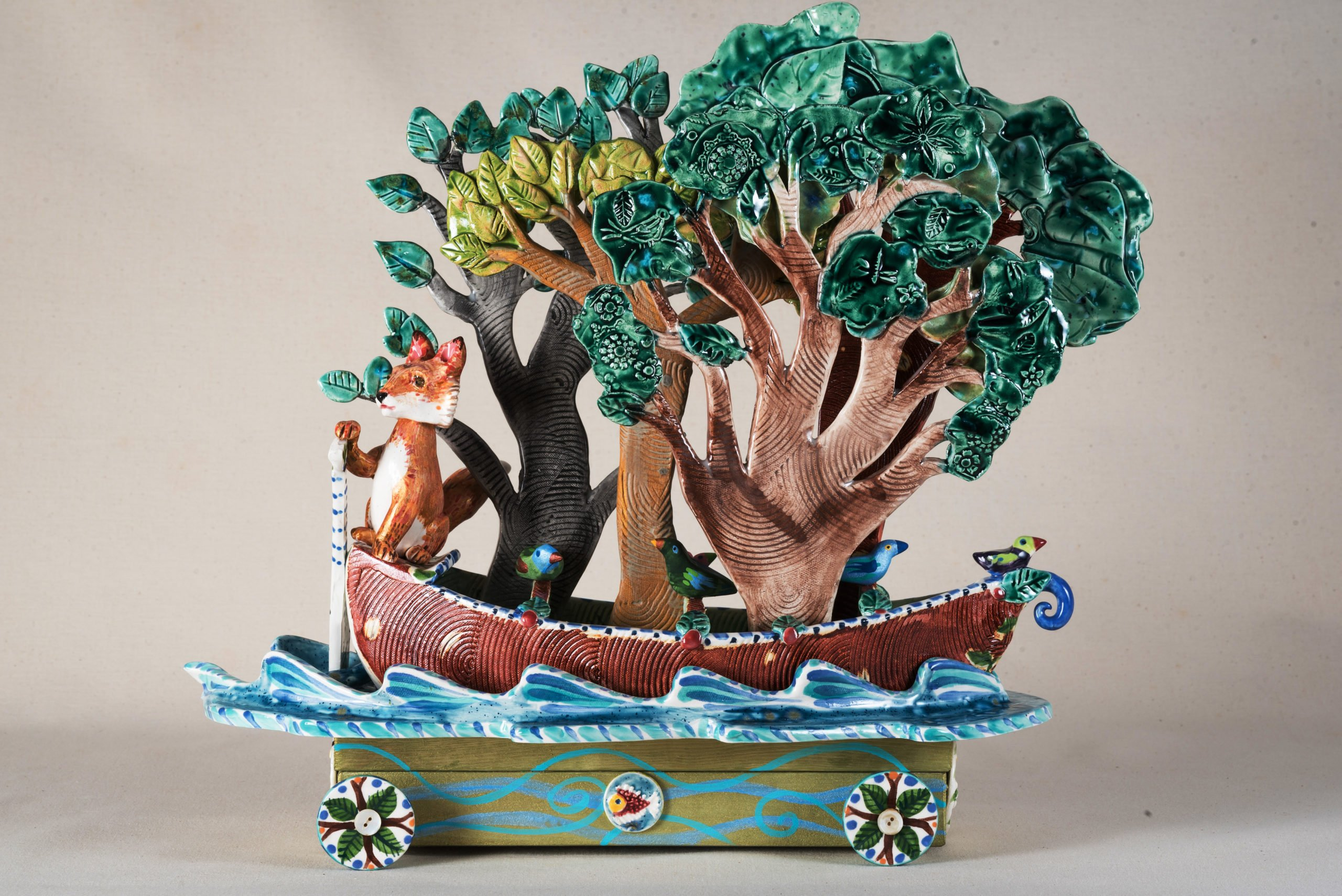 fox floats a forest in his boat