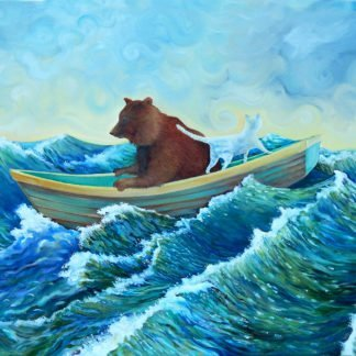 bear and cat in a boat