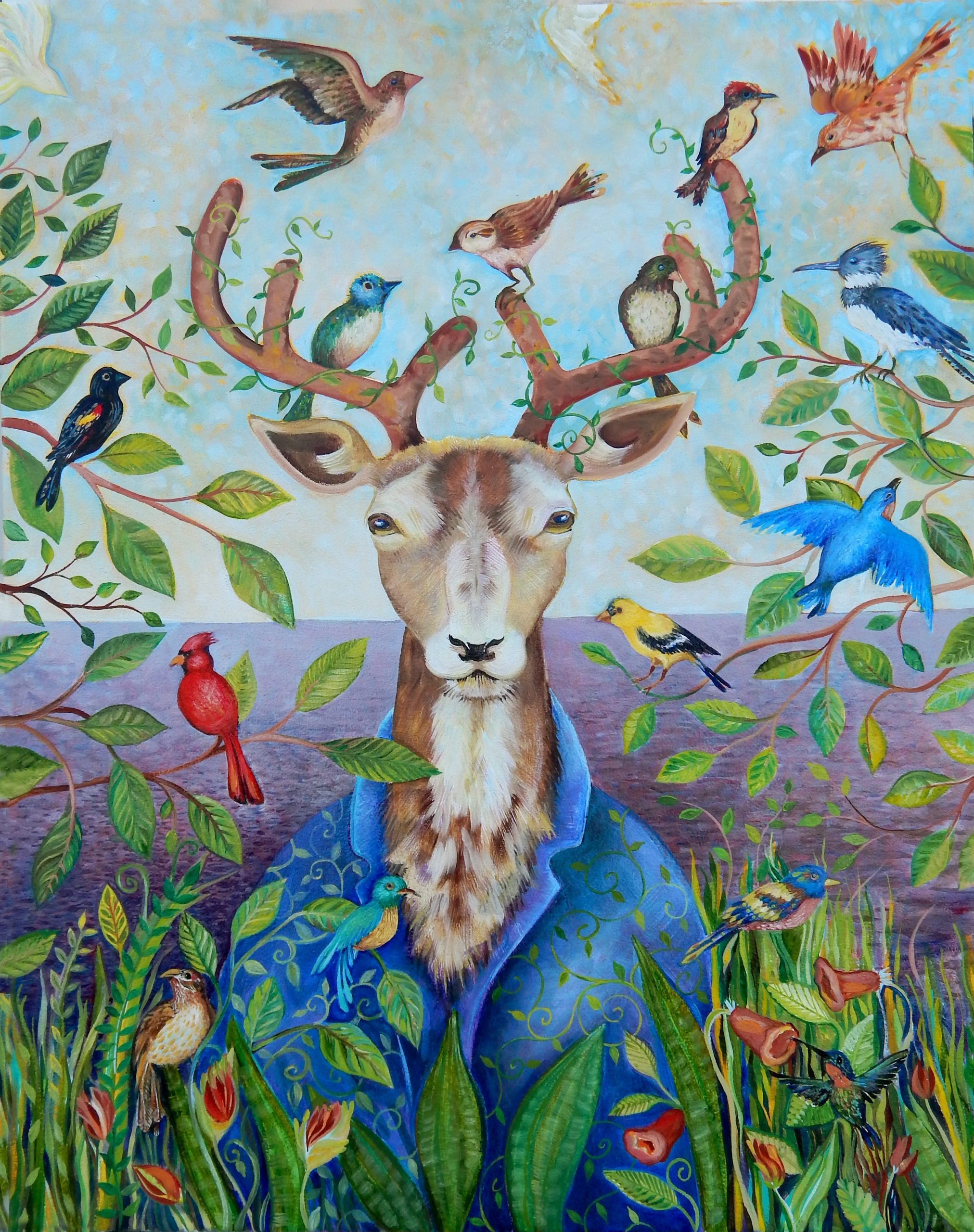a deer with birds confronts us