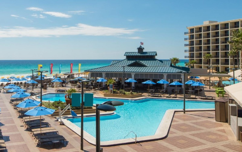 Hotel resort pool located on the Emerald Coast of Florida in Destin