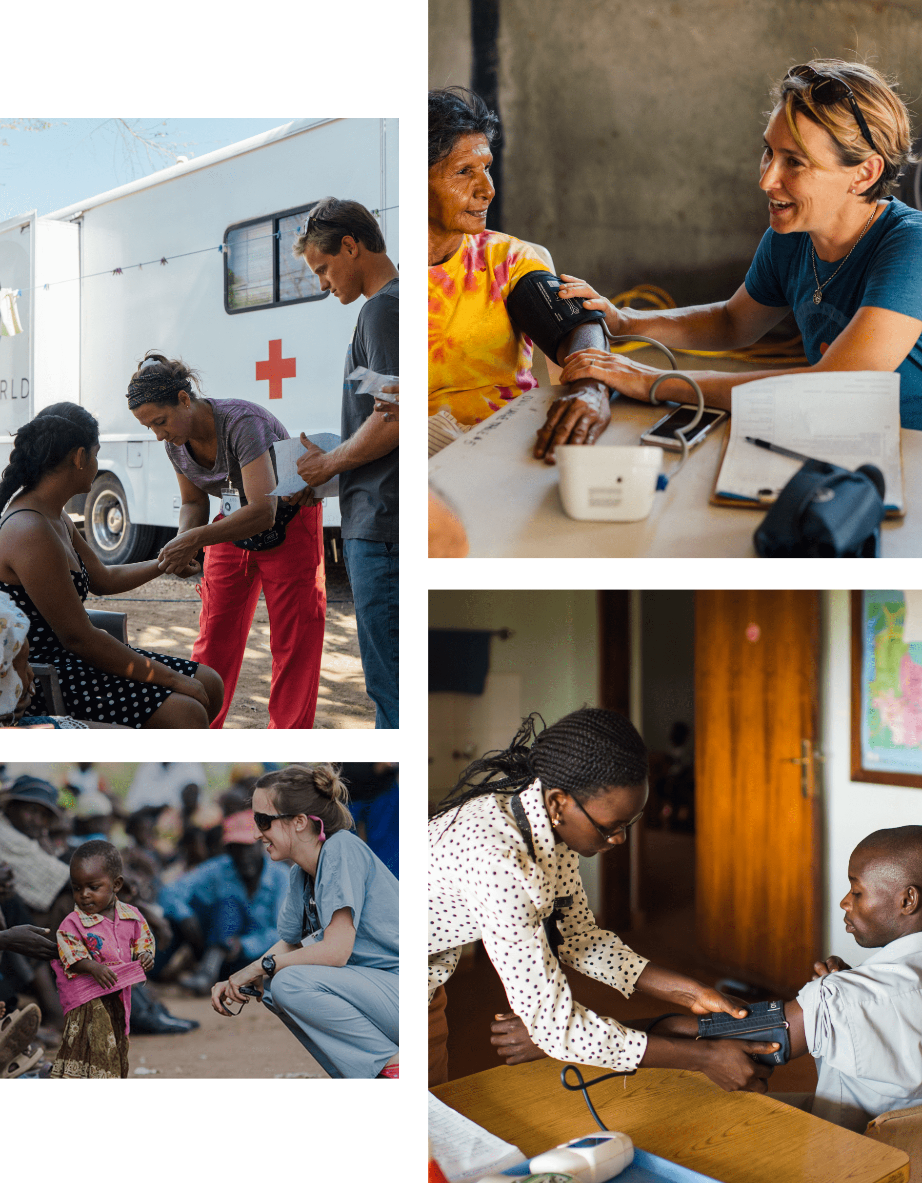 collage of one world health workers