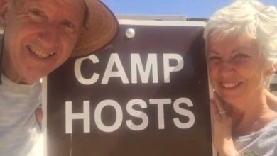 Photo of Dan and Patty Harrison describe their Workamping adventure that keeps them young and active on Episode 109