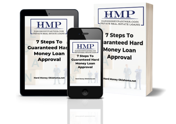"""An ipad, iphone, and a book, all with text """"7 steps to guarantee hard money loan approval"""""""