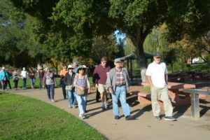 Goup of people out for a brisk walk to reduce belly fat and improve health