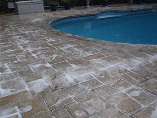 Photo of Cleaning - Treating - Sealing a stamped Concrete Pool Deck, Norton, MA