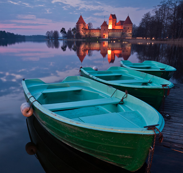 Lake Galvė in Trakai, Lithuania with Trakai Castle in the background.  Photo source: Vaidotas Mišeikis