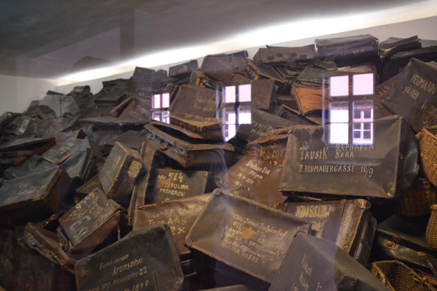 Suitcases of victims transported to Auschwitz.  They were tricked into writing their names on the suitcases even though the nazis knew they would be killed soon.