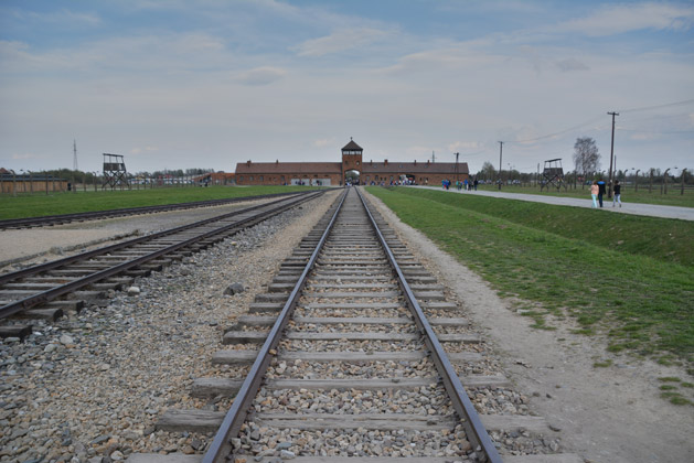 The end of the railway at Birkenau.