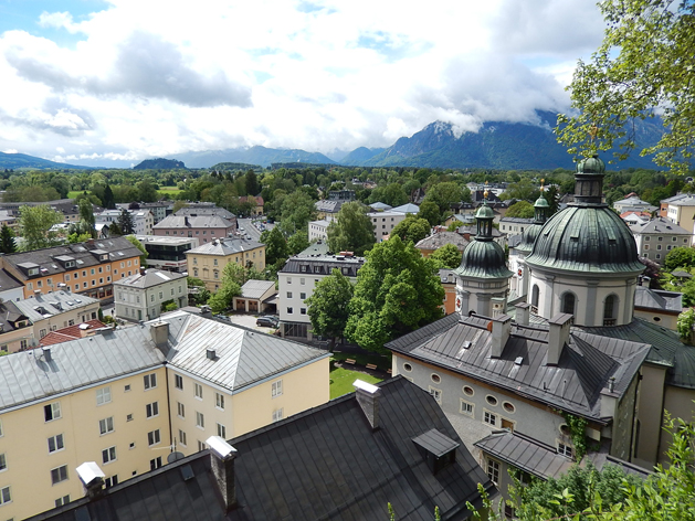 """View from Nonnburg Abbey. In the distance is the mountain used for """"The Hills are Alive"""" and other scenes"""